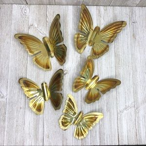 Vintage Metal Flame Painted Butterfly Wall Decor